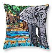 Beaded Elephant Throw Pillow