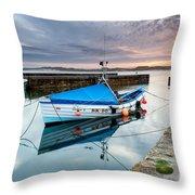 Beadnell Harbour Sunset Throw Pillow
