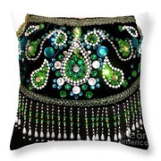Beadwork And Rhinestones. Belly Dance Fashion Throw Pillow