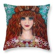 Sarah Goldberg Beauty Queen. Beadwork Throw Pillow