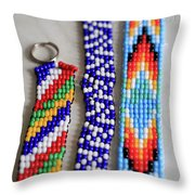 Beadwork Throw Pillow by Tracy Hall