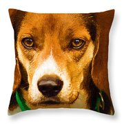 Beagle Hound Dog In Oil Throw Pillow