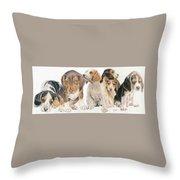 Beagle Puppies Throw Pillow