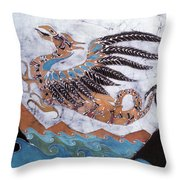 Beaked Dragon Flies Above The Sea Throw Pillow by Carol  Law Conklin