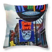 Beale Street Neon Throw Pillow