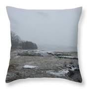 Beals Cove During A Snow Storm Throw Pillow
