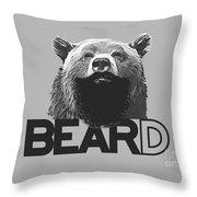 Bear And Beard Throw Pillow