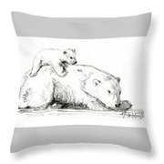 Bear And Cub Throw Pillow