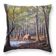 Bear And Her Cubs Throw Pillow