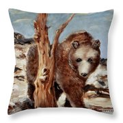 Bear And Stump Throw Pillow
