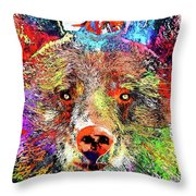 Bear Colored Grunge Throw Pillow