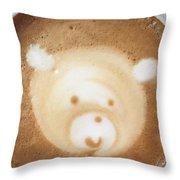 Bear Cup Latte  Throw Pillow