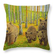Bear Family Throw Pillow
