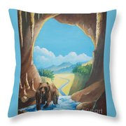 Bear Going Home Throw Pillow