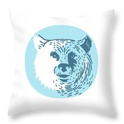 Bear Head Smiling Circle Drawing Throw Pillow