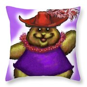 Bear In Red Hat Throw Pillow