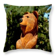 Bear In Woods Throw Pillow