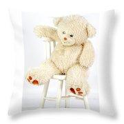 Bear On A Chair Throw Pillow