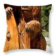 Bear On Trail Throw Pillow