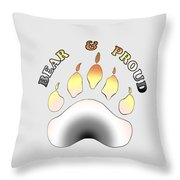 Bear Pride Paw With Text Throw Pillow