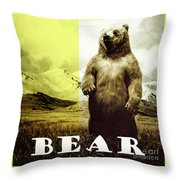 Brown Grizzly Bear Throw Pillow