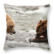 Bear Watches Another Eat Salmon In River Throw Pillow