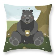 Bear With A Jar Of Honey Throw Pillow