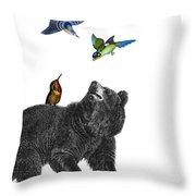 Bear With Birds Antique Illustration Throw Pillow