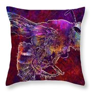 Bearded Bee Macro Insect Nature  Throw Pillow