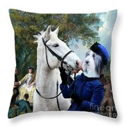 Bearded Collie Art Canvas Print - Picnic After The Hunt Throw Pillow