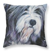 Bearded Collie In Snow Throw Pillow