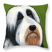 Bearded Collie Throw Pillow by Leanne Wilkes