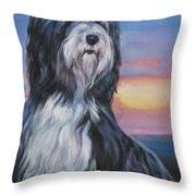 Bearded Collie Sunset Throw Pillow