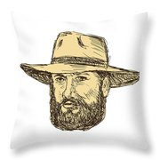 Bearded Cowboy Head Drawing Throw Pillow