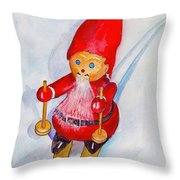 Bearded Elf On Skis Throw Pillow