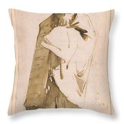 Bearded Oriental In Turban And Cloak Throw Pillow