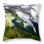 Beargrass Flower On The Slopes Of Mt. Hood Throw Pillow