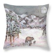 Bears In Winter Throw Pillow