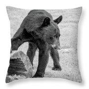 Bear's Log Stash Of Treats - Black And White Throw Pillow