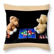Bears Playing Halma Throw Pillow