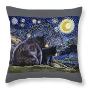 Beary Starry Nights Too Throw Pillow