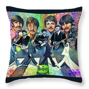 Beatles Fan Art Throw Pillow