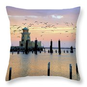 Beau Rivage Marina And Lighthouse Throw Pillow