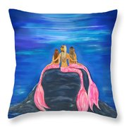 Beauties On The Rock Throw Pillow