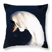 Beautiful Abstract Surreal White Swan Looking Away Throw Pillow