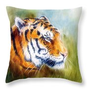 Beautiful Airbrush Painting Of A Mighty Fierce Tiger Head On A Soft Toned Abstract Gres Background  Throw Pillow