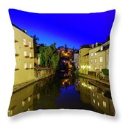 Beautiful Alzette River Side Scene On Road Rue Munster Throw Pillow