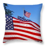 Beautiful American Flags Throw Pillow