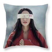 Beautiful Asian Woman With Red Sensual Lips Standing In The Snow Throw Pillow