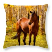 Beautiful Autumn Horse Throw Pillow